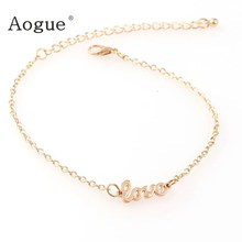 New Summer Gold Color LOVE Anklet Personality Wild Popular Lady Legs Barefoot Anklet Fashion Foot Jewelry(China)