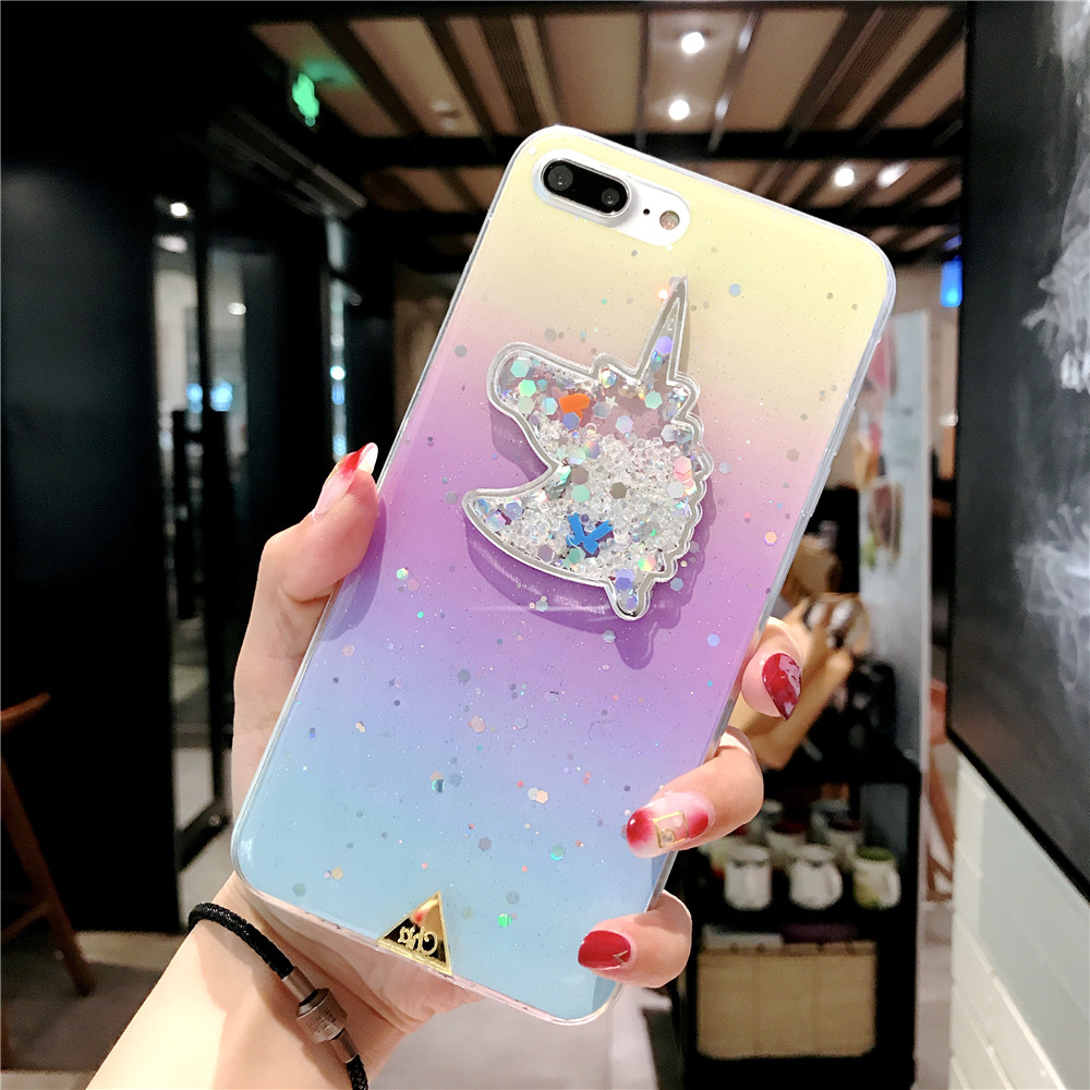 XINKSD For iphone 6 s 6s Gradient Luxury diamond unicorn phone case On iphone 7 8 x xr xs max Ultra-thin soft tpu liquid funda (10)