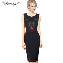 Vfemage Womens Summer Embroidery Elegant Vintage Casual Sleeveless Wear To Work Office Party Evening Pencil Bodycon Dress 4337
