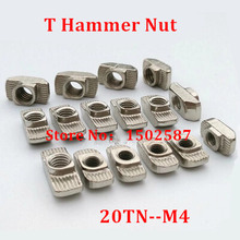 100pcs 20-M4 hammer nut M4 block t nuts for 2020 aluminum profile accessories Groove 6 carbon steel nickel plated(China)