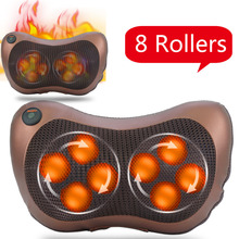 Car Home Office Neck Shoulder Back Waist Buttocks Heat Magnetic Therapy Electronic Massage Pillow Deep Kneading Massager Cushion