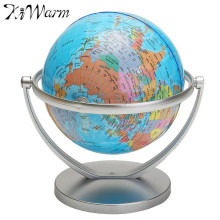 KiWarm English Geography World Globe Rotating World Map Ornaments for Home Office Decor Craft Gift for Friend Children 18cm