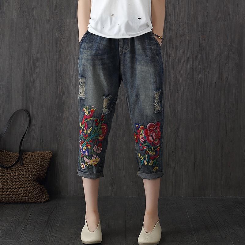 Vintage Embroidered Jeans Woman 2017 New Spring Summer Harem Jeans Women Casual Elastic Waist Denim Pants F188Îäåæäà è àêñåññóàðû<br><br>