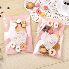 13*19cm Free Shipping 100pcs Pink Heart Design Wedding Biscuit Candy Gift Bags Cupcake Decorating Packing baby shower favors