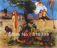 Oil Painting Reproduction on Linen canvas,Adam and Eve or Paradise Lost by paul gauguin,100%handmade,landscape oil painting(China)