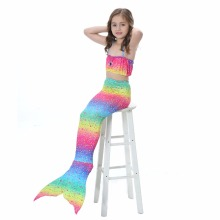 3Pcs/Set Kids Girl Diamond Mermaid Tail Costume Bikini Set Rainbow Swimming Suit Cute Kids Girls Gilding Swimwear(no fins)