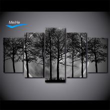 BHD printed 5 piece Black and white Painting Art Print Canvas Grey Psychedelic Forest Posters and Prints free shipping MH6732