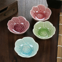 4pcs/Lot Healthy Soy Sauce Dish Anti-bacteria Smooth Ceramic Flower Shap Non Slip Seasoning Dish Best Gift for Friends