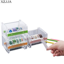 XZJJA High Quality 3 Color Creative Plastic Desktop Tape Dispenser Tape Cutter Paper Tape Storage Box Holder Organizer Case(China)