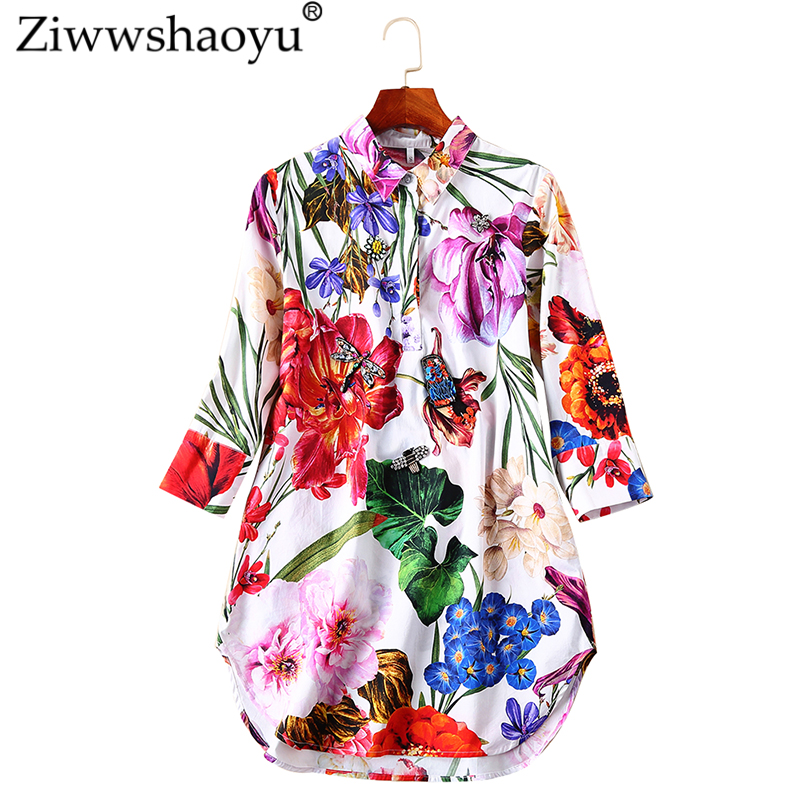 Ziwwshaoyu Elegant Diamonds long Slim shirt Turn-down Collar Print temperament Loose Blouse  2019 spring and summer new women