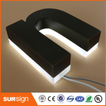 3D Brushed Stainless steel LED illuminated Channel letters sign(China)