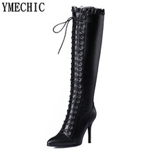 YMECHIC women winter boots high heel shoes woman fashion cross tied lace up zipper thigh knee high black long real leather boots