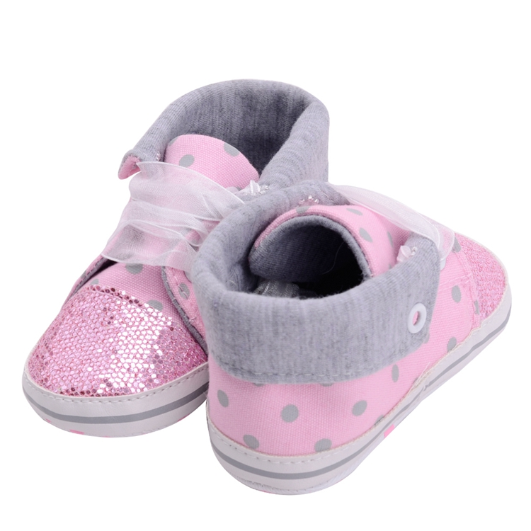 Infant Newborn Baby Girls Boy Glitter Polka Dots Autumn Lace-Up First Walkers Sneakers Shoes Adorable RibbonToddler Canvas Shoes 13