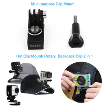 TELESIN  2 in 1 Aluminum Cap Hat Clip Mount Stand Adapter Rotary Backpack Clip for GoPro, Polaroid, SJCAM, Xiaomi Yi 4K Cameras