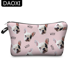 DAOXI Animal Cosmetic Bags 3D Printing Dogs Women Pink Makeup Case Cute Gift YY10030(China)