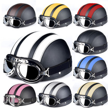 Hot Sell 2017 Street Fashion Leather vintage Motorcycle Motorbike Vespa Open Face Half Motor scooter Helmets & Visor & Goggles