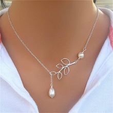 fashion silver plated hollow out ross leaf leaves imitation pearl maxi statement pendant necklace chokers for women jewelry