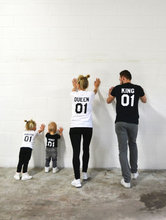 New Family Matching Shirt King Queen Letter Print T Shirt Cotton tshirt Mother and Daughter Father Son Clothes Princess Prince