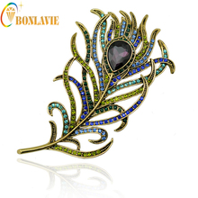 New Arrival Romance Large Women Vintage Feather Bronze Brooch Pin Gold Color Antique Multicolor Crystal Rhinestone NYBO32(China)