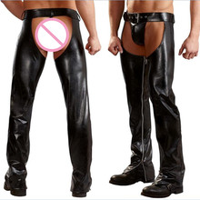 Buy Exotic Gothic Gay fetish Men Sexy Open Crotch Pole Dance Pants Black Erotic Wetlook Patent Leather Leggings Chaps Add homme XXL