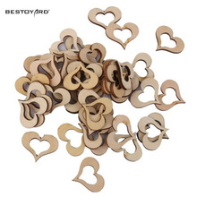 Laser Cut Heart Shaped Natural Wood Hanging Ornament Wedding Decorations Happy Birthday Party Kids Baby Shower Favors(China)