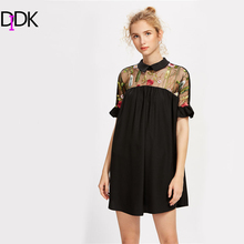 DIDK Women Smock  Dress Embroidered Mesh Yoke Tie Back Ruffle Sleeve Contrast Collar Shift Dress With Bow 2017Ladies Short Dress