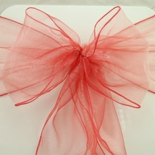 25pcs 18x275cm Dark Coral Wedding Organza Chair Cover Sashes Bow Sash Wedding Banquet Party Decoration Free Shipping