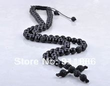 Best Selling,Fashion Cross Shamballa Necklace Wholesale,Charm Black CZ Crystal Christian Cross Rosary Beads,Free Shipping(China)