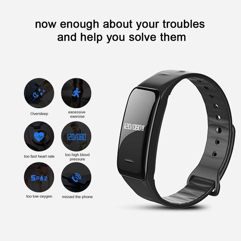 Hangrui C1 Smart Wristband Blood Pressure & Heart Rate Monitor Wrist Band Fitness Bracelet Sleep Tracker for Sports Health