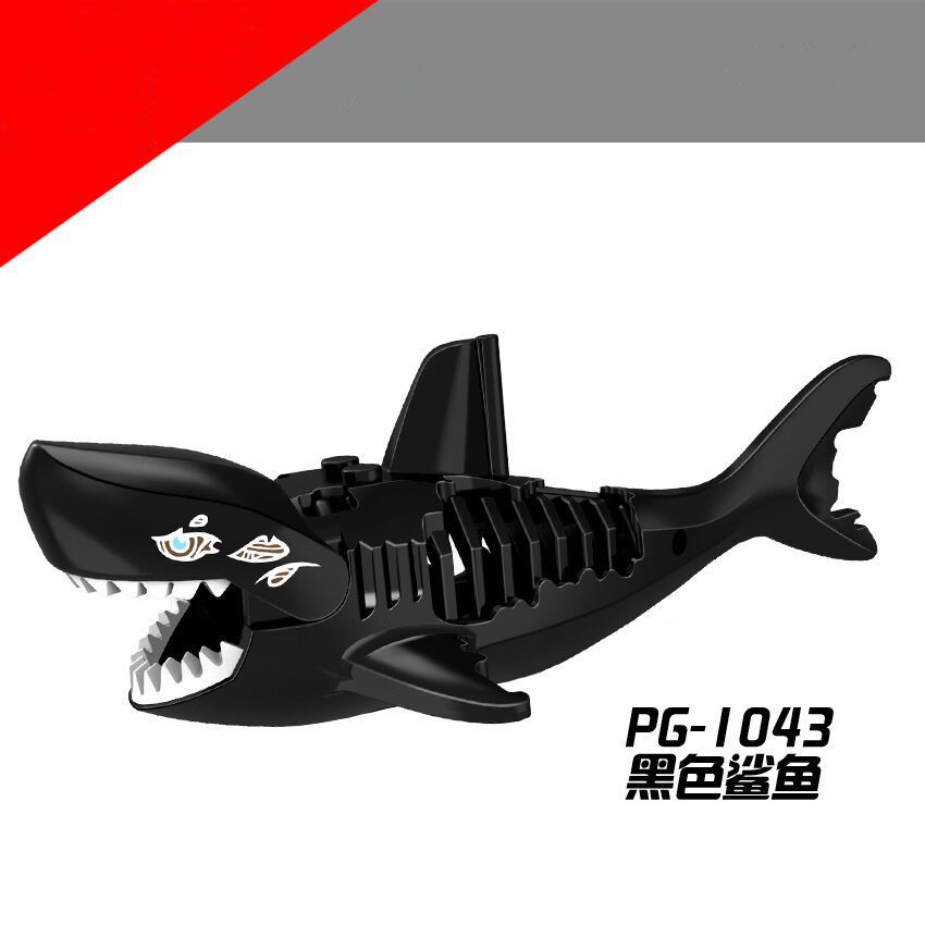 1Pcs Shark Blocks Shark Figure Creative Animal Building Blocks Compatible Duploed Shark Toy Plastic Toys for Children (1)