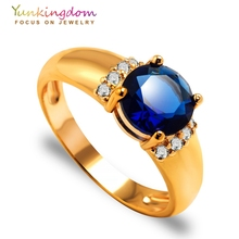 Yunkingdom 6 Colors Round Cubic Zirconia Crystal Rings For Women Fashion Costume jewelry Womens Ring(China)