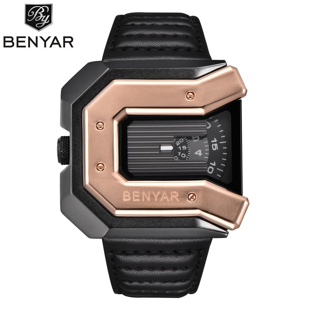 2018 New Top Luxury Brand Hot BENYAR Unique Design Leather Strap Fashion Waterproof Quartz Watch Clock Male Sports Wristwatch<br>