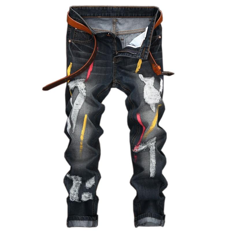 28-42 Big Size straight jeans Paint jeans men Ripped Jean Pants Adult Black Trousers Male Vintage black denim Jeans free beltÎäåæäà è àêñåññóàðû<br><br>