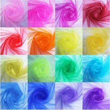 48CMx5M High Quality Sheer Gauze Element Organza Tulle Roll Fabric for Wedding Party Decoration or New Year Decoration 7ZSH015A1(China)