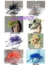 NEW sinamay hat fascinator.black,silver,lime green,zebra,purple,yellow black pink,coral,royal blue.8 colour.FREE SHIPPING