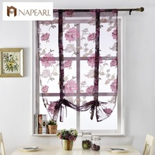 Floral roman curtains short kitchen door curtains purple tulle fabrics sheer panel modern curtains flower window treatment