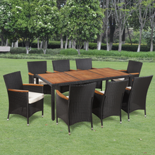 iKayaa Garden Furniture set poly rattan table and 8 chairs Patio Set ES Stock