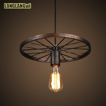 Vintage pendant light fitting American style Rope drop lamp lustre Antique Edision bulb suspension light for Dining room pendant(China)
