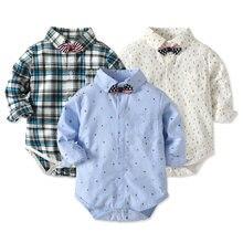 e65b594989 Do Bebê Do algodão Menino Camisa Xadrez Infantil Macacões Bodysuits  Completo Manga Primavera Outono Macacão Bebê