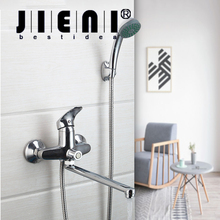 Hot & Cold Mixer Wall Mounted Bathroom Bath Faucet Mixer Tap With Hand Shower Head Shower Faucet Set Long Spout(China)