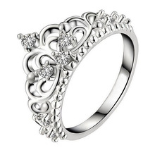 2016 silver plated rings anillo USA EURO Style Fashion Silver plated crown only crown Ring Wholesale Jewelry free shipping