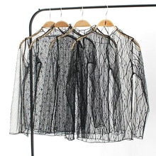 2017 Vogue Fishnet Transparent Mesh Top Casual Sexy Long Sleeve T-shirt Women Black Tees Tops Shirt Top Femme