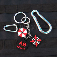 black background color design Resident Evil Umbrella Corporation Blood Type AB POS  Keychain ring 3D PVC Patch Badges PB364