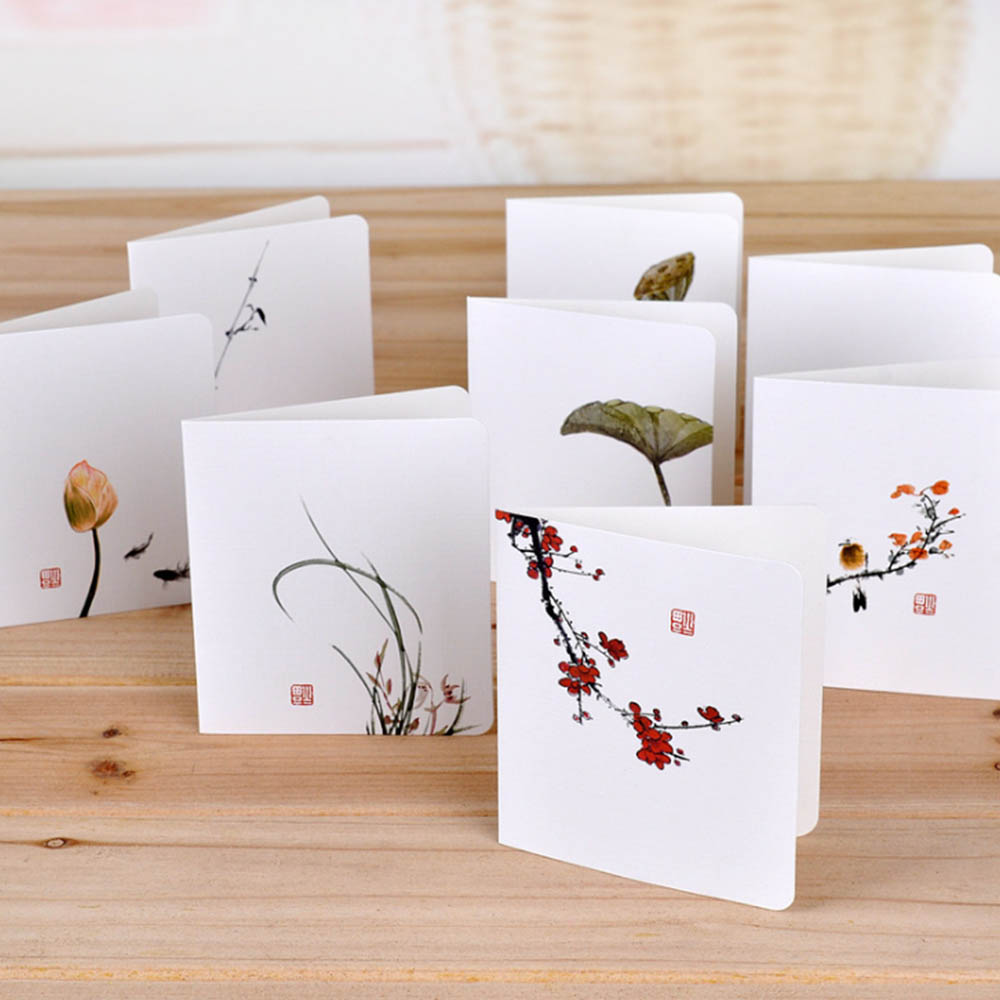 Classical Chinese Wind Flower Cards Diy Creative Simple Mini