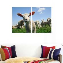 2PCS No Frame Happy Little Lambs Wall Painting Realist Cute Animal Canvas Painting Art Blue Sky White Clouds Painting Home Decor