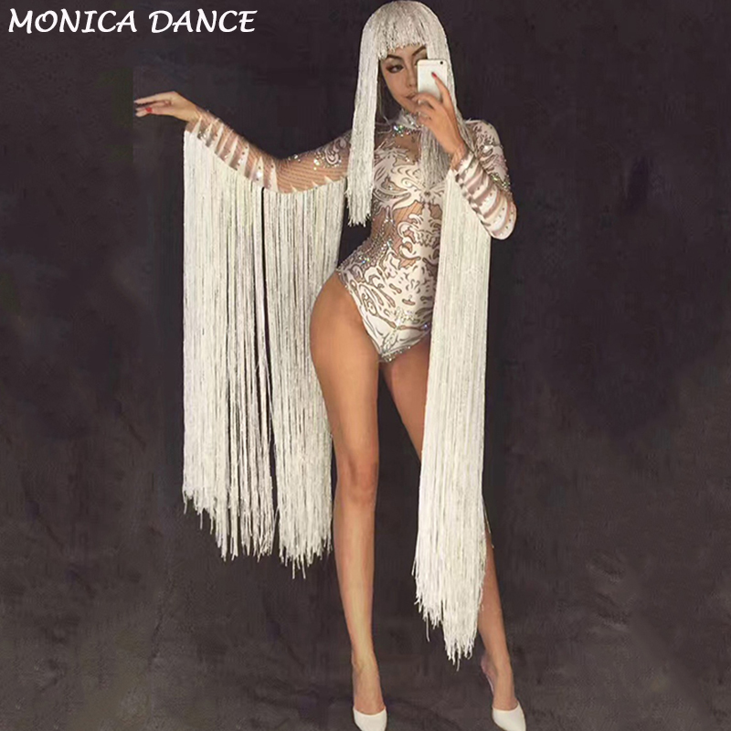 Female Singer Stage Costume Women Jumpsuits white Tassel Dance Outfit Jazz DJ DS Show Wear Performances Sexy Bodysuits Clothes