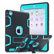 For Apple iPad 4 iPad 3 iPad 2 Case Cover Shockproof Heavy Duty Rubber Armor Rugged Three Layer Full Body Protective w/KickStand