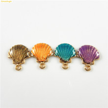 GraceAngie 15PCS Colorful Zinc Alloy Sea Shell Shape Gold Base Pendant Charms Necklace Bracelet Jewelry Accessories Findings(China)