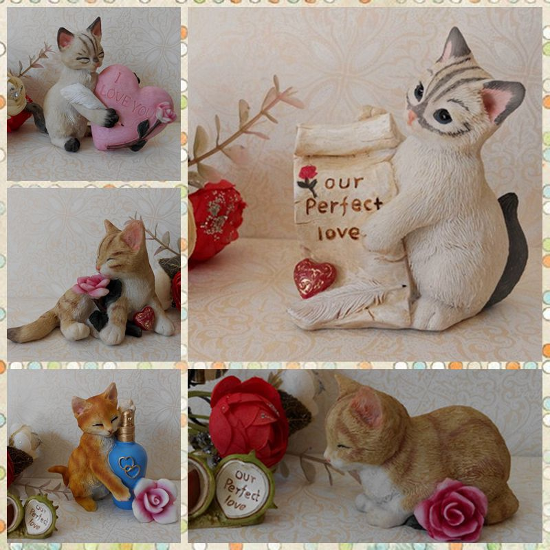 Free shipping Lifelike Cat Figures Resin toys 5 styles vivid cute Kitten cake home office car decoration party supply gifts<br><br>Aliexpress