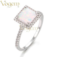 VOGEM Opal Rings 925 Sterling Silver White Fire Opal Rings For Women With Square Rhinestone Bride Wedding Engagement Accessories